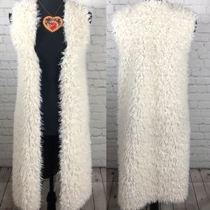 Faux Furry Vest with Side Slits